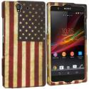Sony Xperia Z USA Flag 2D Hard Rubberized Design Case Cover Angle 1