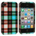 Apple iPhone 4 / 4S Blue Checkered Design Crystal Hard Case Cover Angle 1