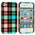 Apple iPhone 4 / 4S Blue Checkered Design Crystal Hard Case Cover Angle 2