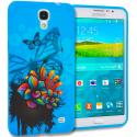 Samsung Galaxy Mega 2 Blue Butterfly Flower TPU Design Soft Rubber Case Cover Angle 1