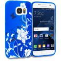 Samsung Galaxy S7 Edge Blue White Flower Butterfly TPU Design Soft Rubber Case Cover Angle 1