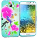 Samsung Galaxy E5 S978L Blue Bird Pink Flower TPU Design Soft Rubber Case Cover Angle 1