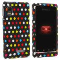 Motorola Droid 2 A955 Colorful dots on Black Hard Rubberized Design Case Cover Angle 1