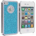Apple iPhone 4 / 4S Baby Blue Diamond Bling Glitter Case Cover Angle 2