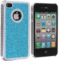 Apple iPhone 4 / 4S Baby Blue Diamond Bling Glitter Case Cover Angle 3