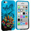 Apple iPhone 5C Blue Butterfly Flower TPU Design Soft Case Cover Angle 1