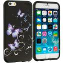 Apple iPhone 6 6S (4.7) Black Purple Butterfly TPU Design Soft Case Cover Angle 1