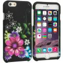Apple iPhone 6 6S (4.7) Flowers on Black 2D Hard Rubberized Design Case Cover Angle 1