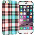 Apple iPhone 6 Plus 6S Plus (5.5) Blue Checkered TPU Design Soft Rubber Case Cover Angle 1