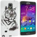 Samsung Galaxy Note 4 White Tiger TPU Design Soft Rubber Case Cover Angle 1