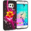 Samsung Galaxy S6 Edge Pink Flower Explosion TPU Design Soft Rubber Case Cover Angle 1