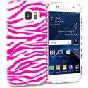 Samsung Galaxy S7 Edge Pink / White Zebra TPU Design Soft Rubber Case Cover Angle 1