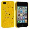 Apple iPhone 4 Yellow 3D Rose Hard Rubberized Back Cover Case Angle 1