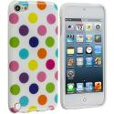 Apple iPod Touch 5th 6th Generation White / Colorful TPU Polka Dot Skin Case Cover Angle 1