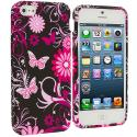 Apple iPhone 5/5S/SE Pink Butterfly Flower TPU Design Soft Case Cover Angle 1