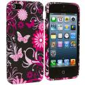 Apple iPhone 5/5S/SE Pink Butterfly Flower TPU Design Soft Case Cover Angle 2