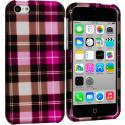 Apple iPhone 5C Hot Pink Checker Hard Rubberized Design Case Cover Angle 1