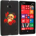 Nokia Lumia 929 Icon Red Rose Skull TPU Design Soft Case Cover Angle 1