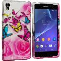 Sony Xperia Z2 Pink Colorful Butterfly 2D Hard Rubberized Design Case Cover Angle 1