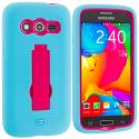 Samsung Galaxy Avant G386 Baby Blue / Hot Pink Hybrid Heavy Duty Impact Case Cover with Stand Angle 2