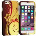 Apple iPhone 6 Plus 6S Plus (5.5) Red Golden Flower 2D Hard Rubberized Design Case Cover Angle 1