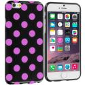 Apple iPhone 6 Plus 6S Plus (5.5) Black / Hot Pink TPU Polka Dot Skin Case Cover Angle 1