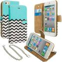 Apple iPhone 4 / 4S Mint Green Zebra Leather Wallet Pouch Case Cover with Slots Angle 1