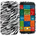 Motorola Moto X 2nd Gen Black White Zebra TPU Design Soft Rubber Case Cover Angle 1