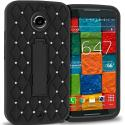 Motorola Moto X 2nd Gen Black / Black Hybrid Diamond Bling Hard Soft Case Cover with Kickstand Angle 1