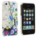 Apple iPhone 3G / 3GS White Blue Flower Hard Rubberized Back Cover Case Angle 1