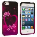 Apple iPhone 5/5S/SE Purple Love Hard Rubberized Design Case Cover Angle 1