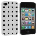 Apple iPhone 4 White Weave Hard Rubberized Back Cover Case Angle 1