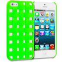 Apple iPhone 5/5S/SE Neon Green Handwoven Hard Rubberized Back Cover Case Angle 1