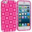 Apple iPhone 5/5S/SE Pink Squares TPU Design Soft Case Cover Angle 1