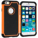 Apple iPhone 6 6S (4.7) Black / Orange Hybrid Rugged Hard/Soft Case Cover Angle 1