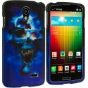 LG Lucid 3 VS876 Blue Skulls 2D Hard Rubberized Design Case Cover Angle 1