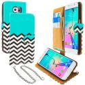 Samsung Galaxy S6 Mint Green Zebra Leather Wallet Pouch Case Cover with Slots Angle 1