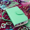 Samsung Galaxy Rush M830 - Mint / White MPERO FLEX FLIP Wallet Case Cover Angle 2