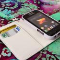 Samsung Galaxy Rush M830 - Mint / White MPERO FLEX FLIP Wallet Case Cover Angle 4