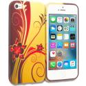 Apple iPhone 5/5S/SE Red Golden Flower TPU Design Soft Rubber Case Cover Angle 1