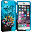 Apple iPhone 6 6S (4.7) Butterfly Flower on Blue 2D Hard Rubberized Design Case Cover Angle 1
