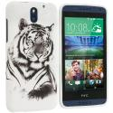 HTC Desire 610 White Tiger TPU Design Soft Rubber Case Cover Angle 1