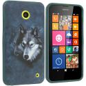 Nokia Lumia 630 635 Wolf TPU Design Soft Rubber Case Cover Angle 1