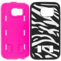 Samsung Galaxy S6 Zebra Hot Pink Hybrid Deluxe Hard/Soft Case Cover Angle 8