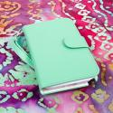 Samsung Galaxy Note 2 - Mint/ White MPERO FLEX FLIP Wallet Case Cover Angle 2