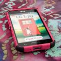 LG Optimus L70 - Hot Pink MPERO IMPACT SR - Kickstand Case Cover Angle 2