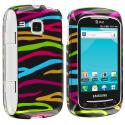 Samsung Doubletime i857 Rainbow Zebra on Black Design Crystal Hard Case Cover Angle 1