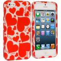 Apple iPhone 5/5S/SE Hearts w Different Shapes Hard Rubberized Design Case Cover Angle 1