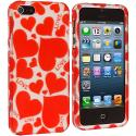 Apple iPhone 5/5S/SE Hearts w Different Shapes Hard Rubberized Design Case Cover Angle 2