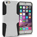 Apple iPhone 6 6S (4.7) Black / White Hybrid Mesh Hard/Soft Case Cover Angle 1